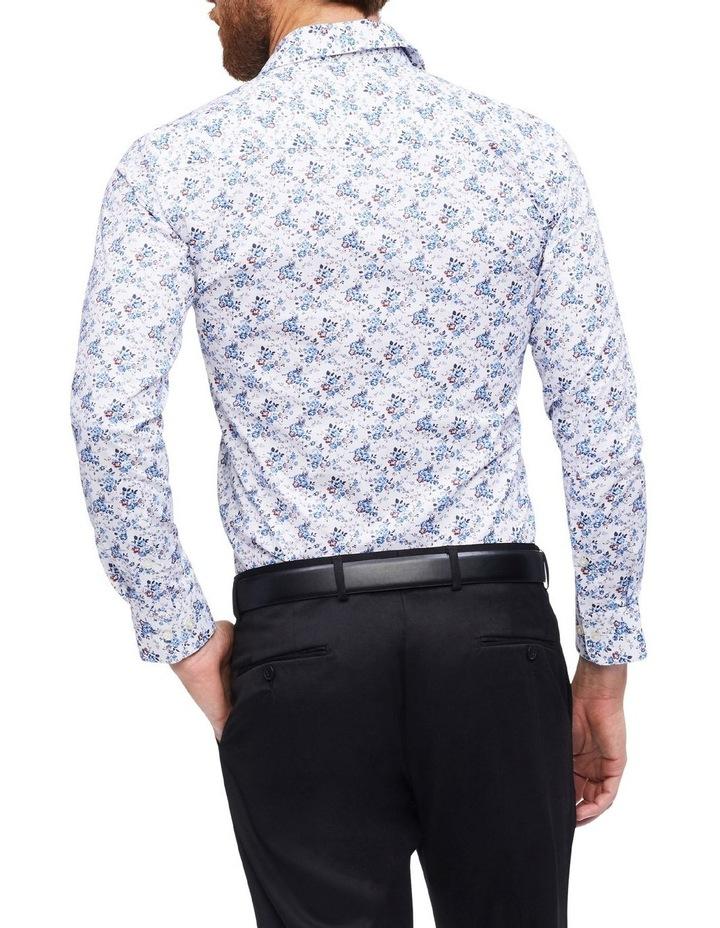 White Ground Blue & Coffee Print Shirt image 3