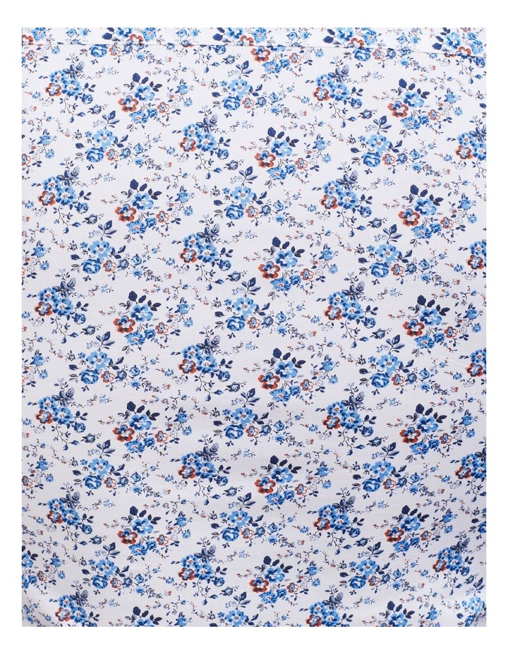 White Ground Blue & Coffee Print Shirt image 4
