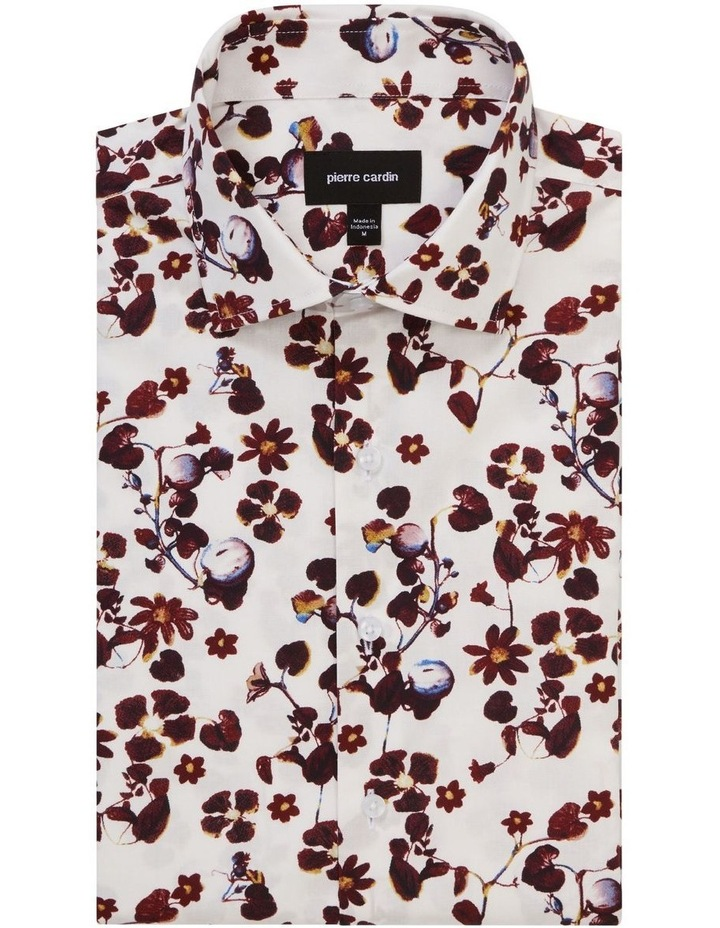White Ground Rouge Floral Print Shirt image 1
