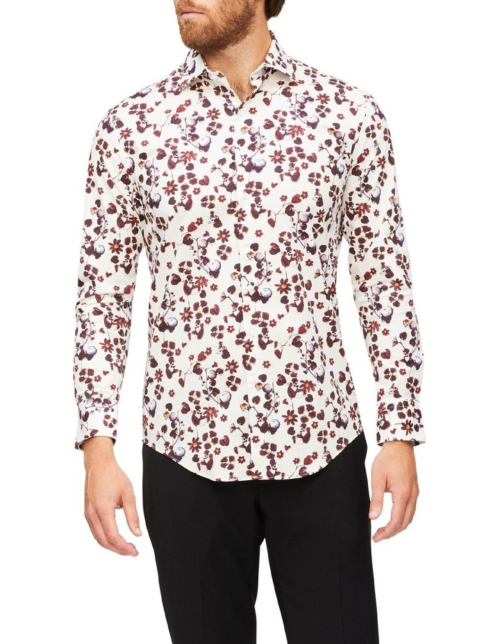 White Ground Rouge Floral Print Shirt image 2