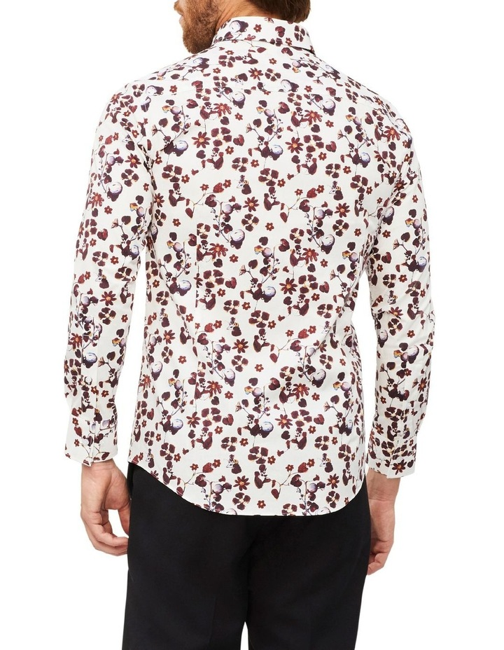 White Ground Rouge Floral Print Shirt image 3