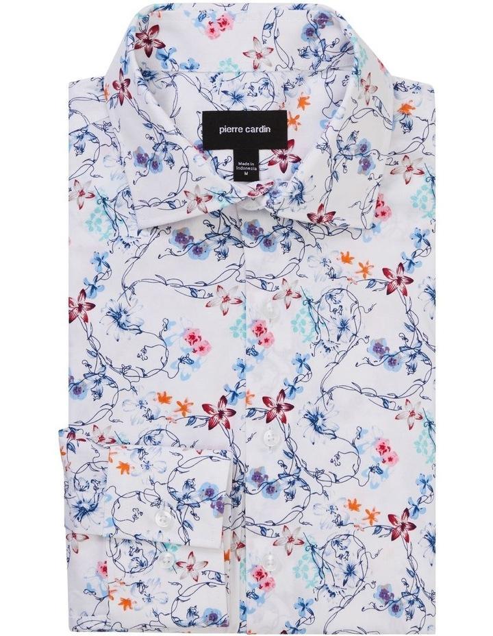 White Ground Blue Aqua & Pink Floral Print Shirt image 1