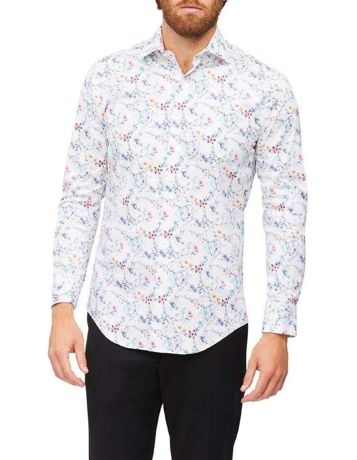White Ground Blue Aqua & Pink Floral Print Shirt image 2