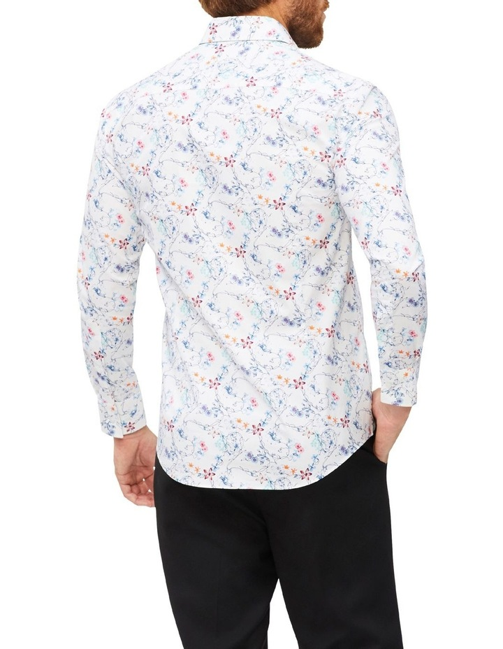 White Ground Blue Aqua & Pink Floral Print Shirt image 3