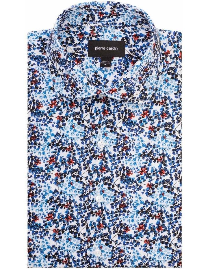 White Ground Cobalt & Navy Print Shirt image 1