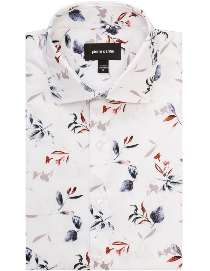 White Ground Blue & Coffee Floral Print Shirt image 1