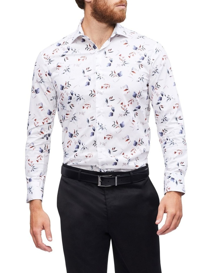 White Ground Blue & Coffee Floral Print Shirt image 2