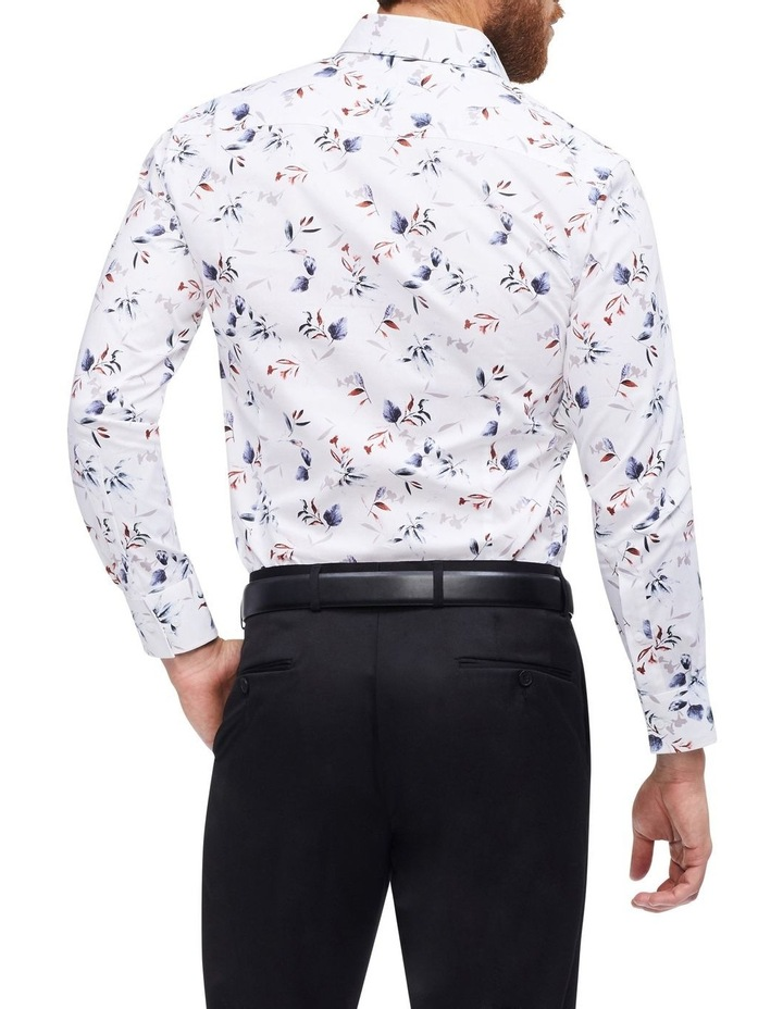 White Ground Blue & Coffee Floral Print Shirt image 3