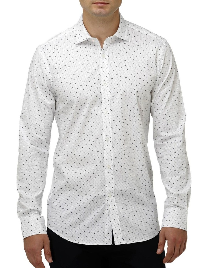 Stretch Abstract Leaf Print Business Shirt image 1