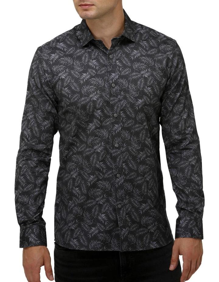 Tonal Leaf Print Satin Business Shirt image 1
