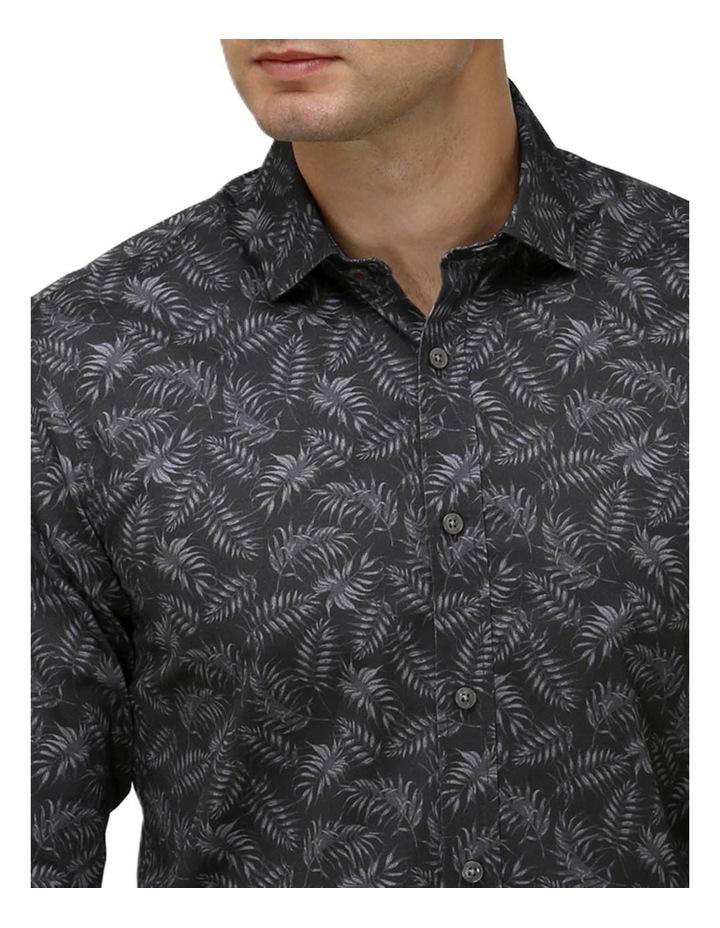 Tonal Leaf Print Satin Business Shirt image 2
