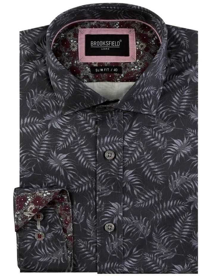 Tonal Leaf Print Satin Business Shirt image 4