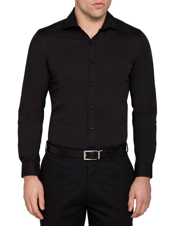 Black Poplin Stretch Business Shirt image 3