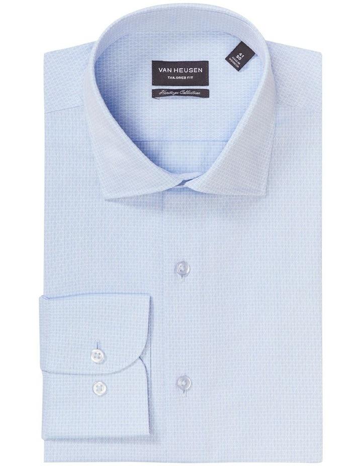 Tailored Long Sleeve Diamond Dobby Shirt Blue image 4