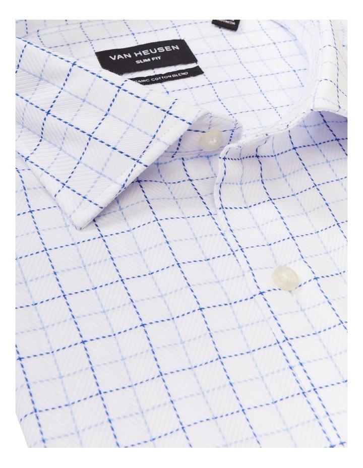 Slim Organic Cotton Twill Check Shirt Blue image 4