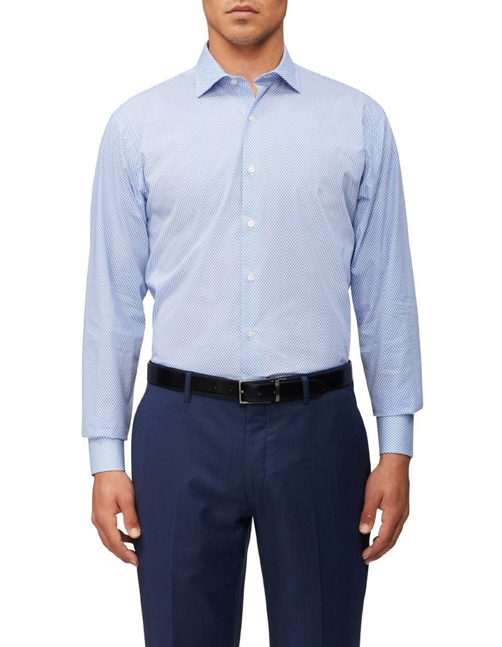 Tailored Long Sleeve Diamond Print Shirt Blue image 1