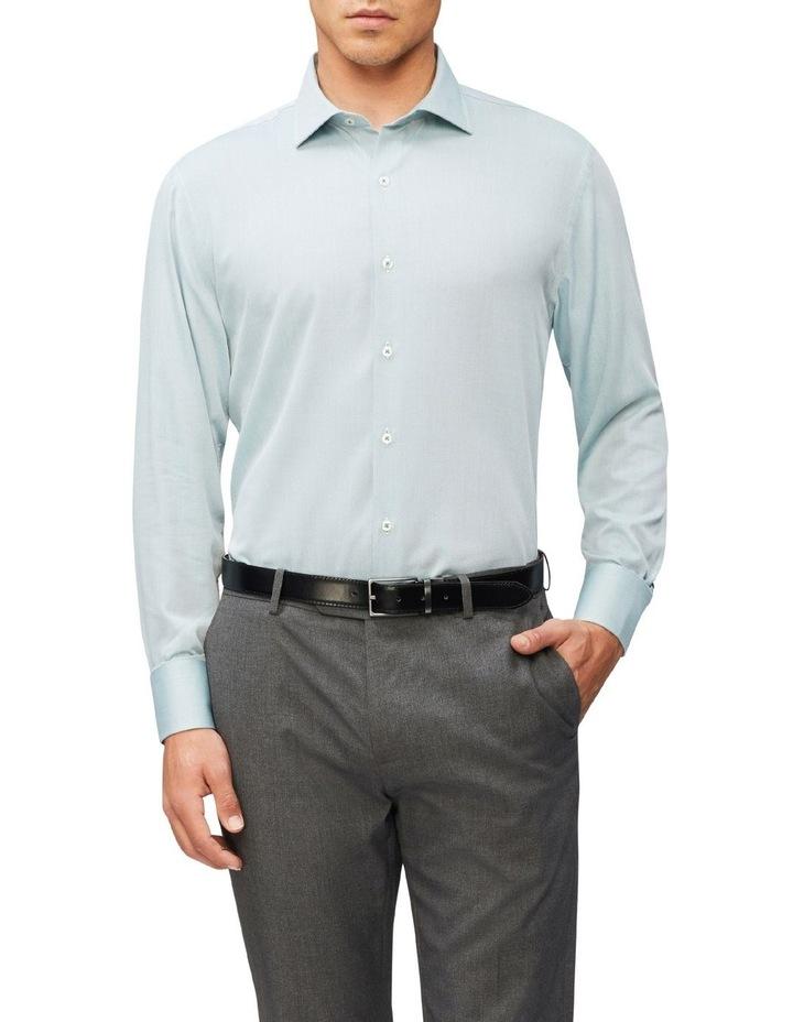 Slim Fit Wash N Wear Dobby Shirt Green image 1