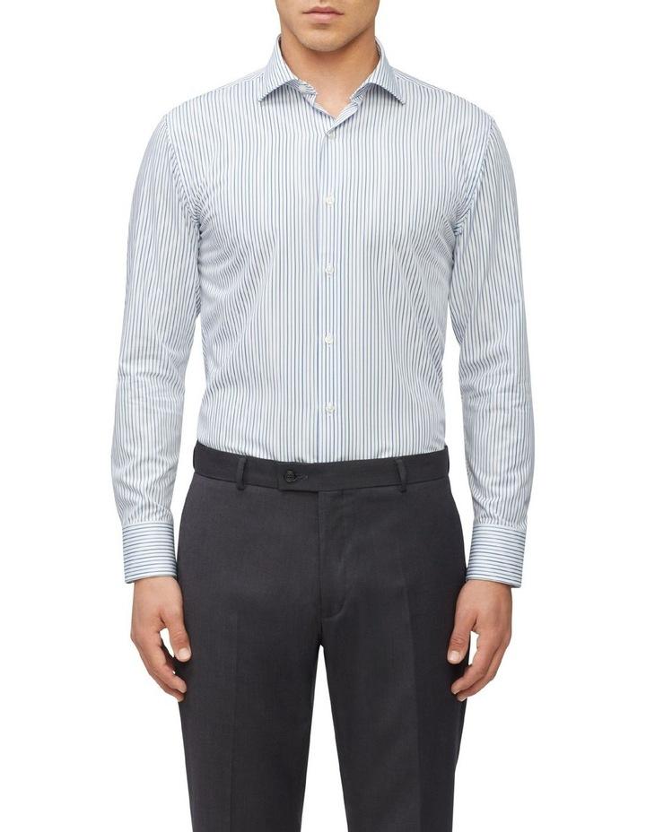 Slim Fit Wash N Wear Twin Stripe Shirt Green image 1