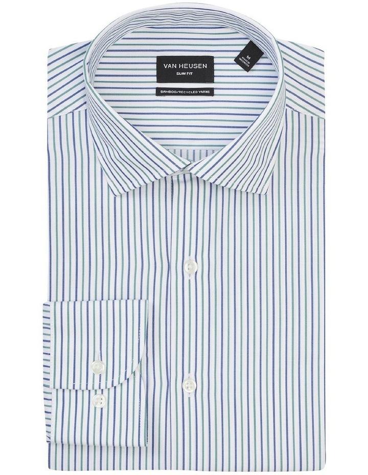 Slim Fit Wash N Wear Twin Stripe Shirt Green image 3