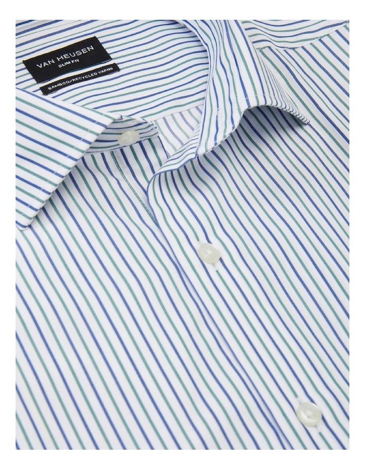 Slim Fit Wash N Wear Twin Stripe Shirt Green image 4