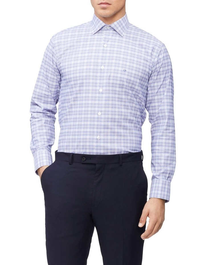 Slim Long Sleeve 3 Colour Check Shirt Blue image 1
