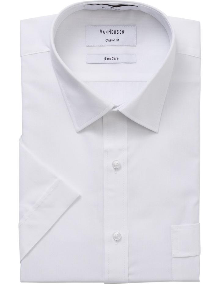 White Poplin Short Sleeve Business Shirt image 1