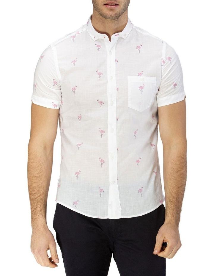 Flamingo Print Short Sleeve Casual Shirt image 1