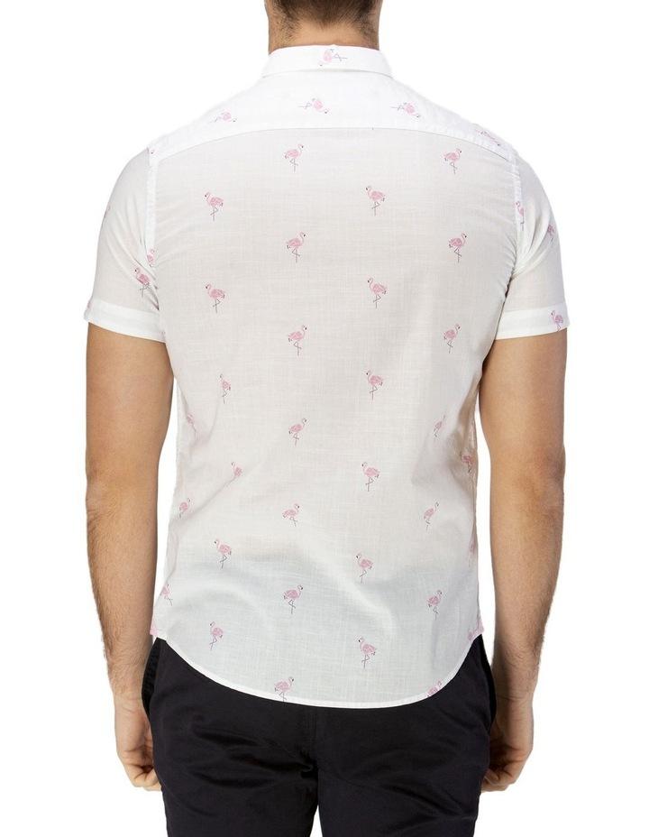 Flamingo Print Short Sleeve Casual Shirt image 3