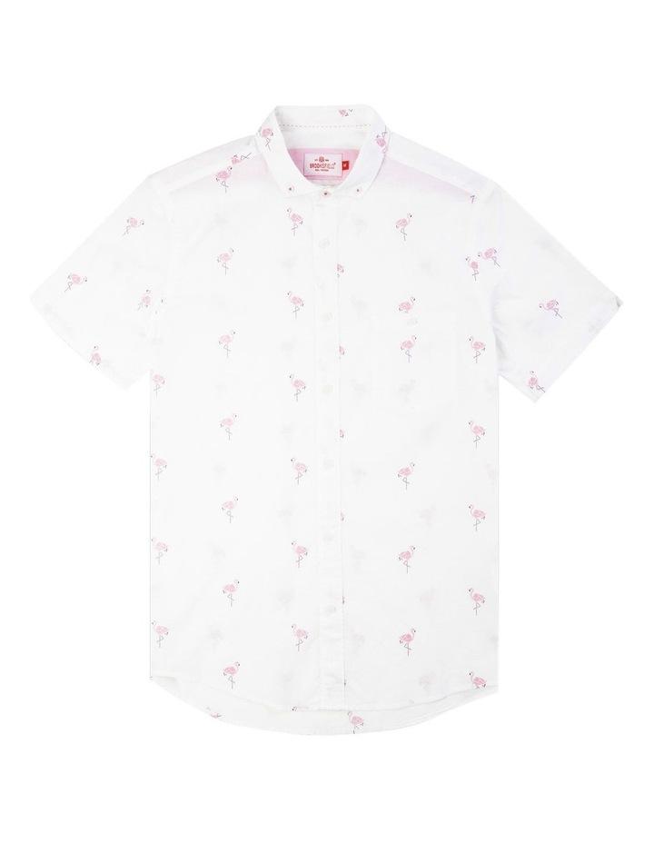 Flamingo Print Short Sleeve Casual Shirt image 4