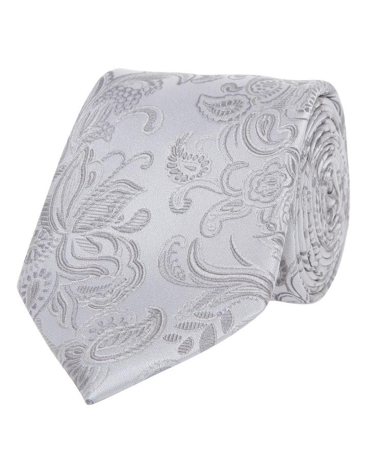 7cm Wide Silver Paisley Silk Tie image 1