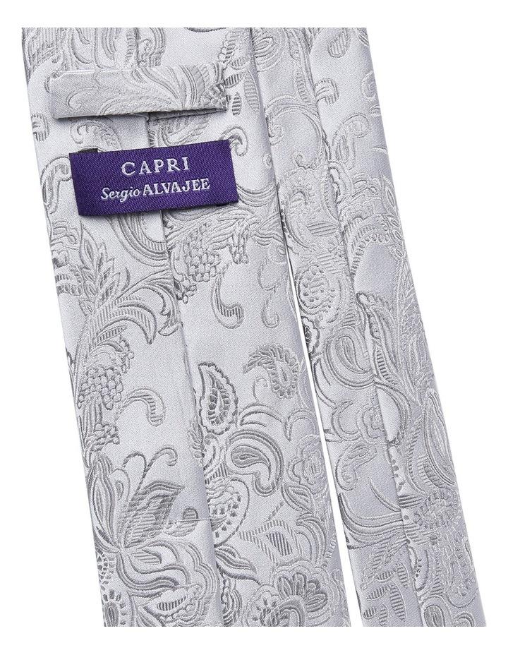 7cm Wide Silver Paisley Silk Tie image 2