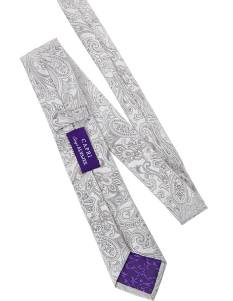 7cm Wide Silver Paisley Silk Tie image 4