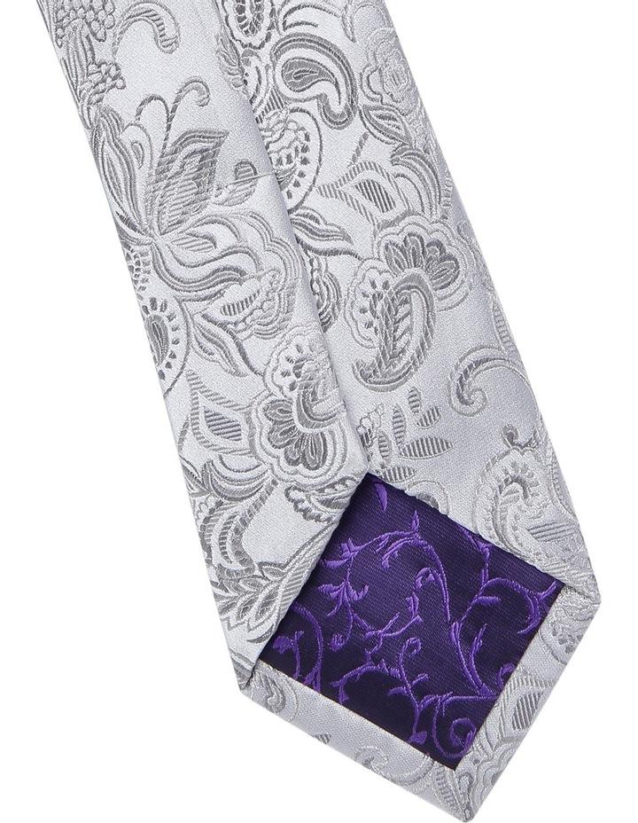 7cm Wide Silver Paisley Silk Tie image 3