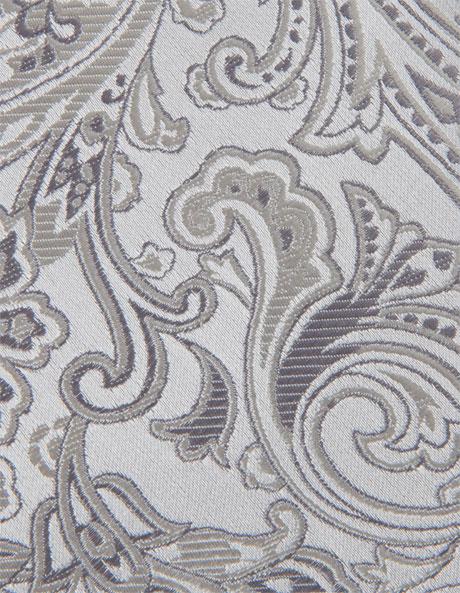 7cm Wide Silver Paisley Silk Tie image 6