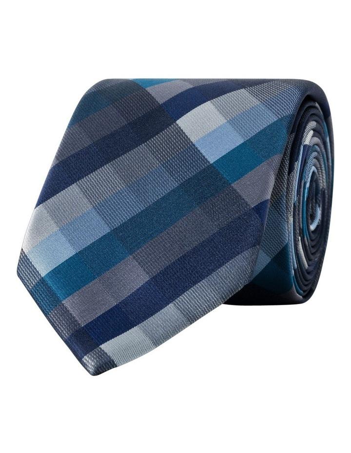Van Heusen Navy Check Polyester Tie image 1