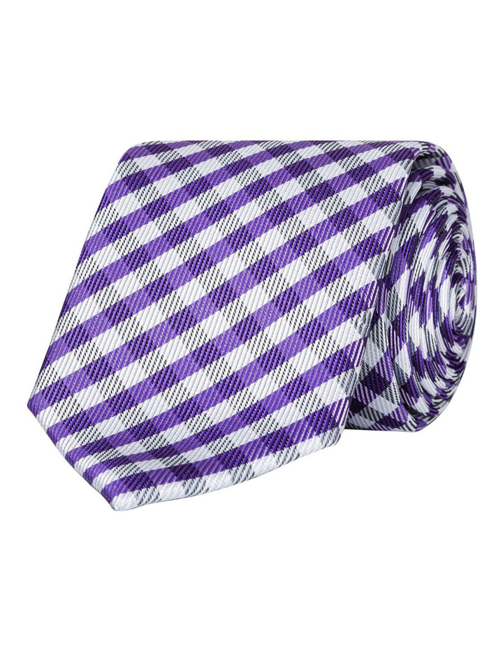 Slim Purple Check Polyester Tie image 1