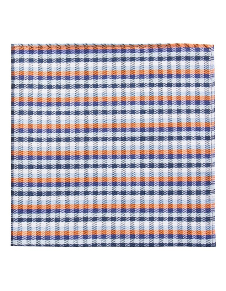 Orange/Navy Plain Bow Tie/Pocket Square image 2