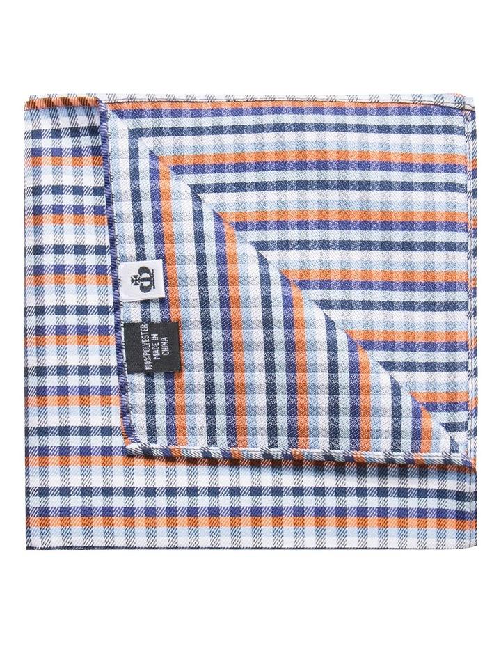 Orange/Navy Plain Bow Tie/Pocket Square image 3