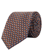 Van Heusen - Mauve With Dobby Grey & Orange Silk Tie