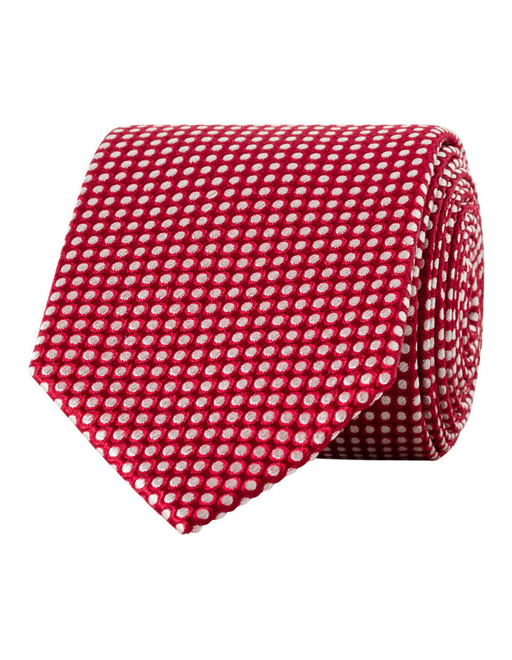 Red With White Spot Silk Tie image 1