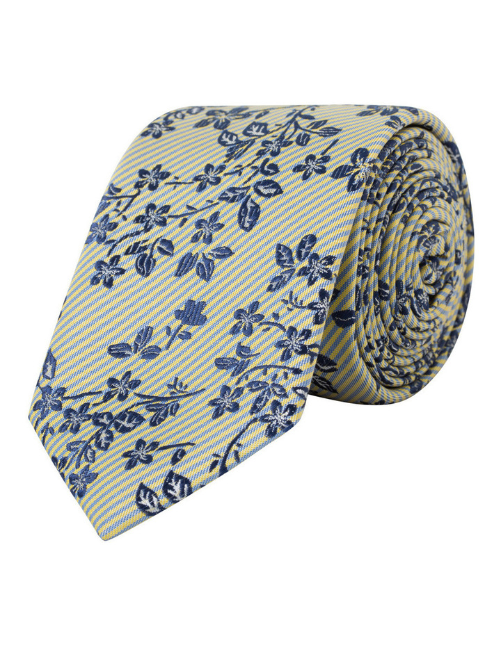 Blue Floral On Yellow Stripe Poly Tie VT7PM055Z_PBLY image 1
