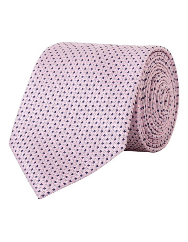 Pink With Navy Dobby Poly Tie VT8PM361Z_PPCP image 1