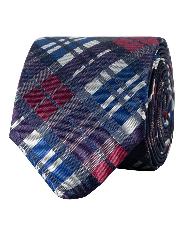 Mauve Red & Blue Check Poly Tie image 1