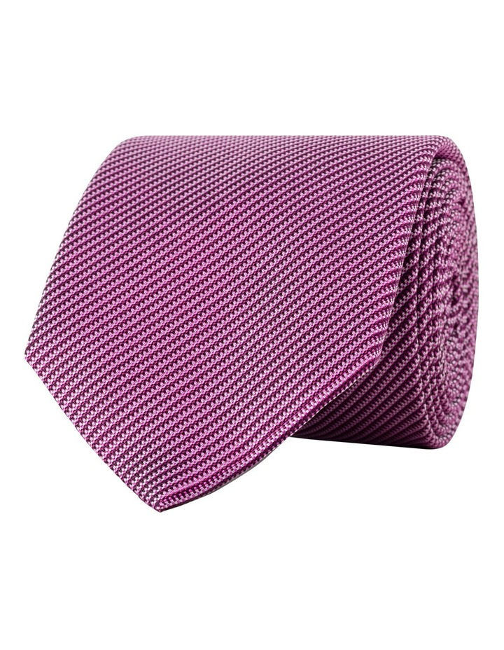 Burgundy Self Stripe Silk Tie CTSM043Z_DBUR image 1