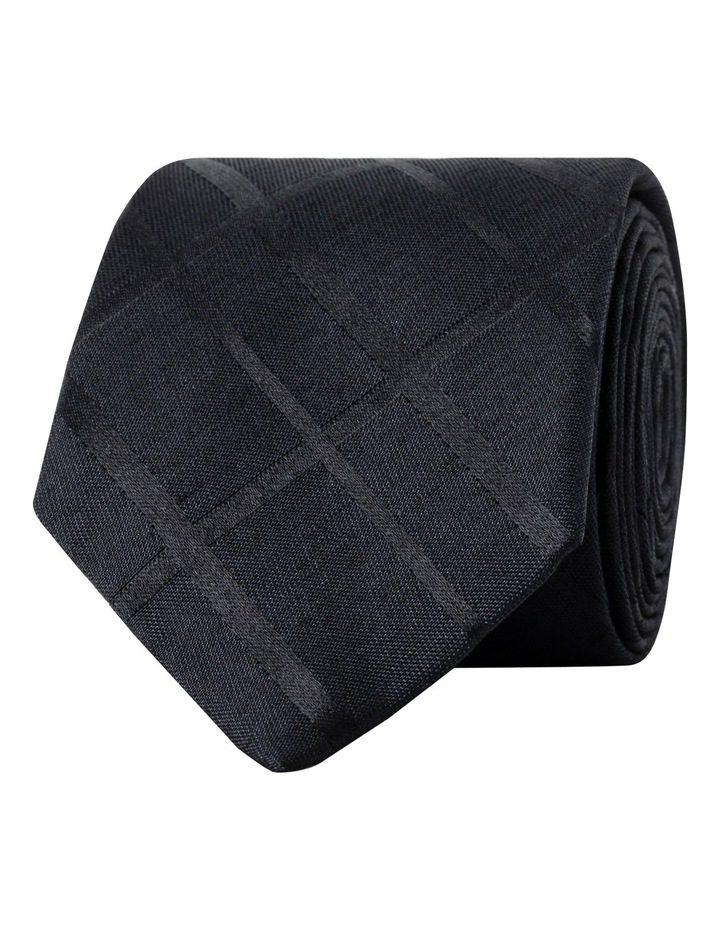 Self Black Check Silk Tie CTSM303Z_CBLK image 1