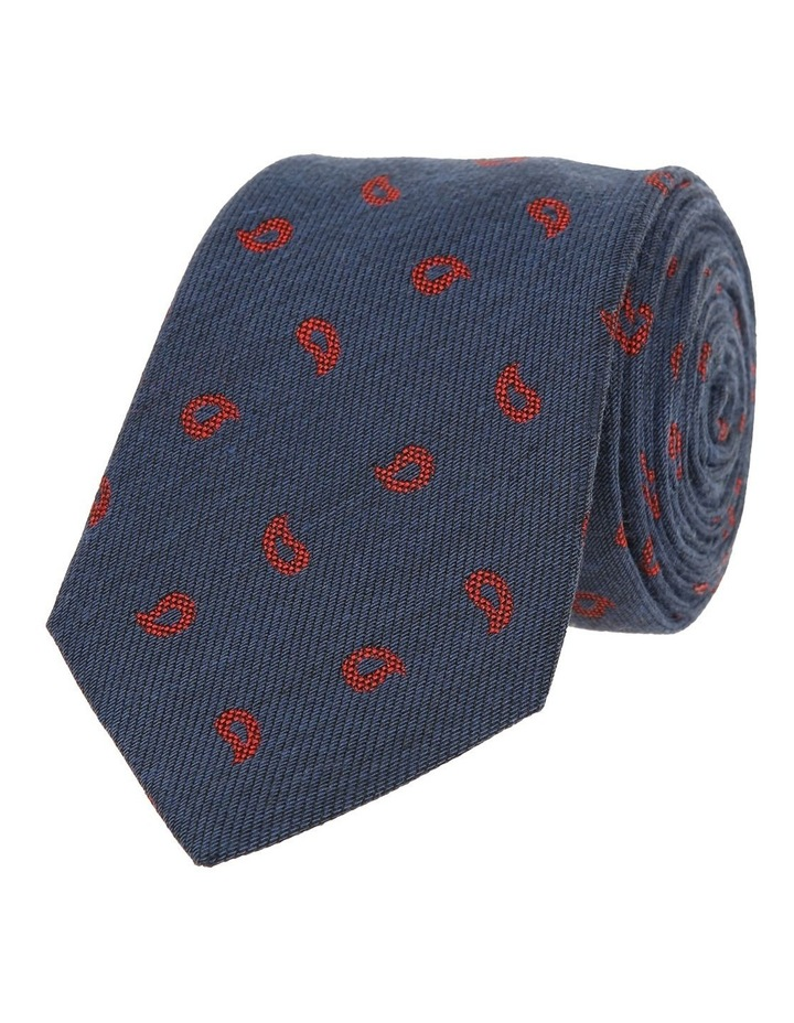 Navy / Red Paisley Tie image 1