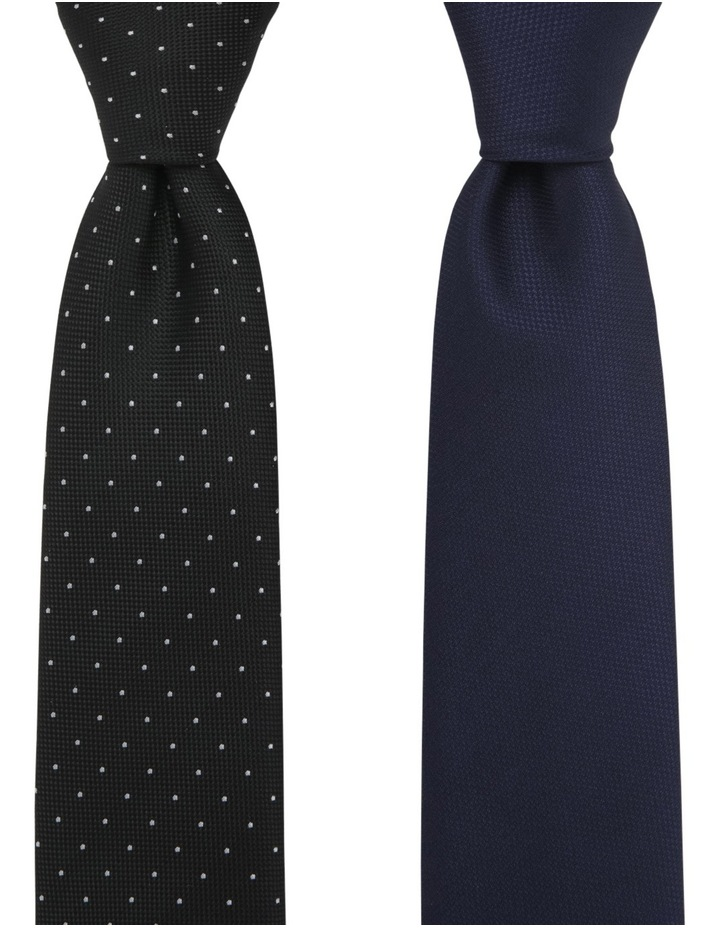 Plain/Spot Poly 2 Pack Tie Navy/Black image 1