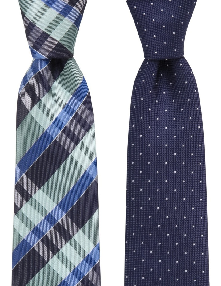 Spot/Check Poly 2 Pack Tie Navy/Green image 1