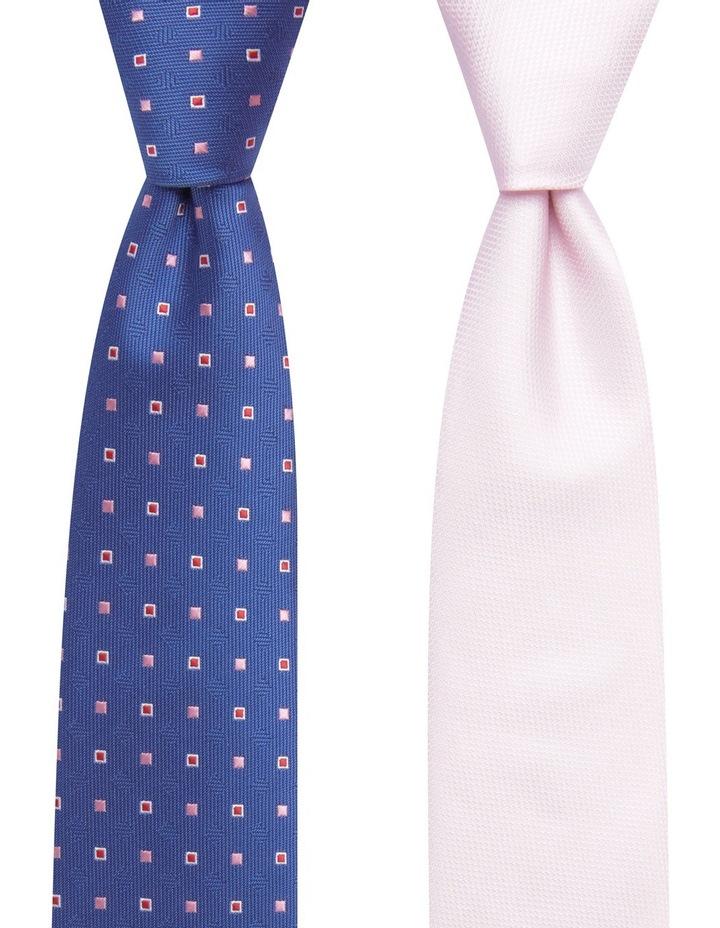 Geo/Plain Poly 2 Pack Tie Navy/Pink image 1
