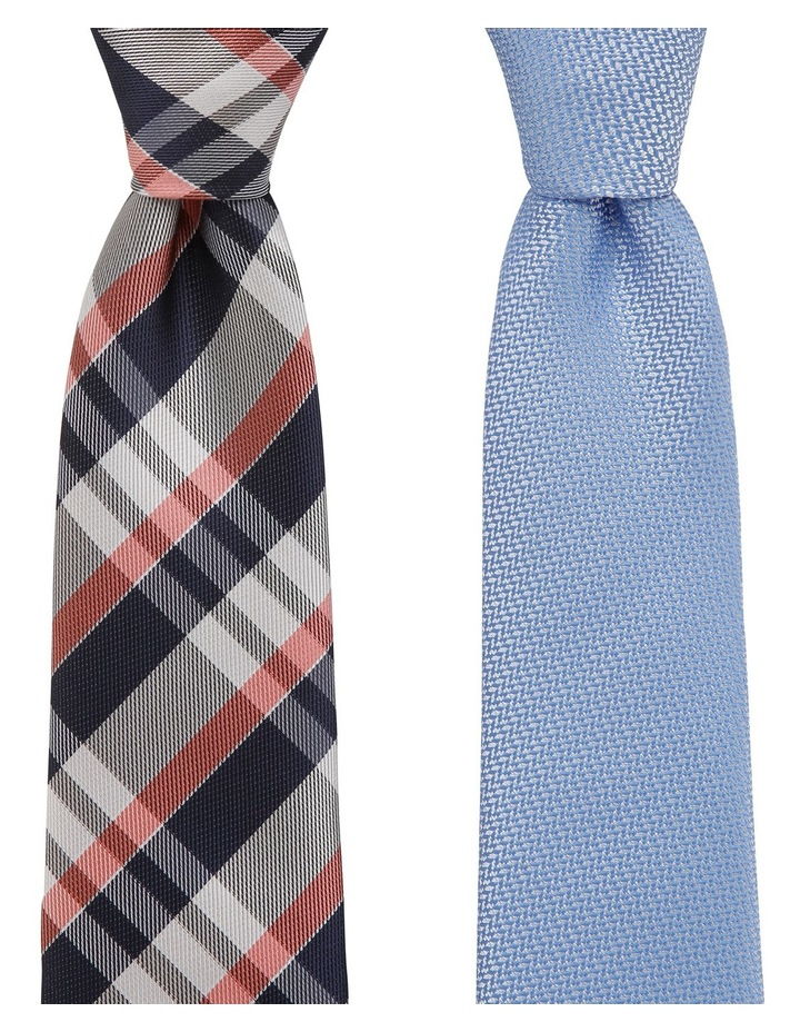 Check/Plain Poly 2 Pack Tie Pink/Royal image 1